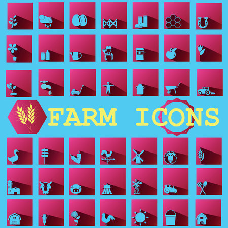 mowers: blue color farm icons on ping square