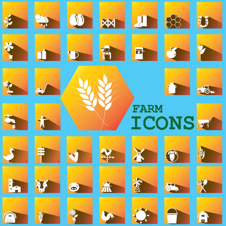 mowers: white color farm icons on orange square