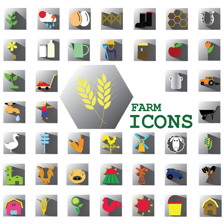 mowers: color farm icons on gray square