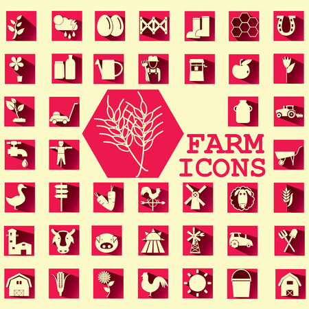 soft yellow color farm icons on ping square Vector
