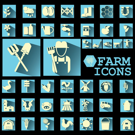 soft yellow color farm icons on soft blue square Vector