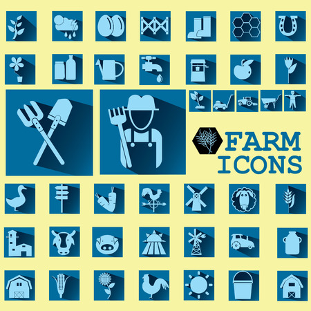 mowers: soft blue color farm icons on dark blue square