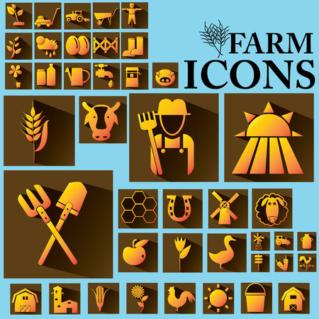 mowers: orange color farm icons on brown square Illustration