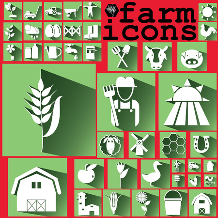 mowers: whiite color farm icons on soft green color square Illustration