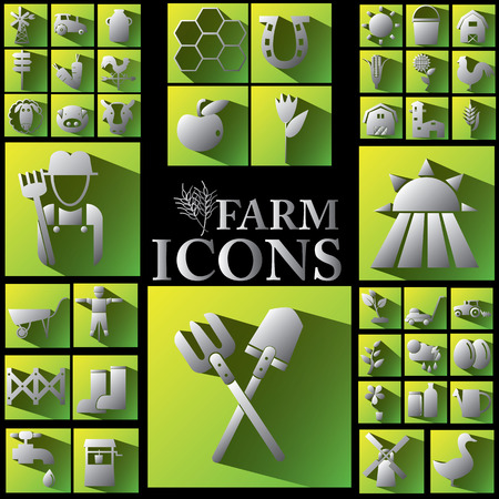 mowers: white color and shadow farm icons on yellow and green color square