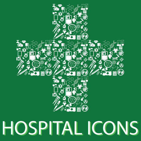 surgery doctor: colorful hospital icons on hospital symbolic Illustration