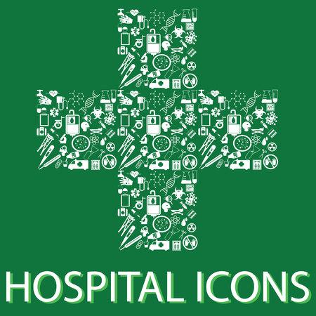 pressure bottle: colorful hospital icons on hospital symbolic Illustration