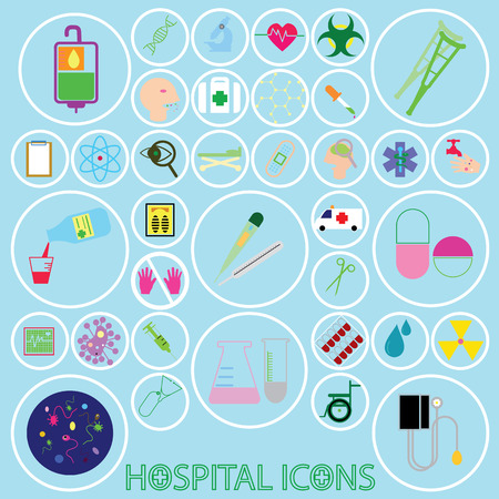colorful hospital icons in white line circle