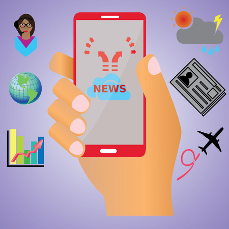 Smartphone in human hand and NEWS report Vector