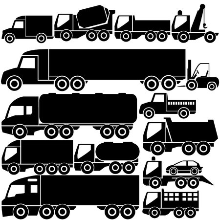 dump truck: The icons in different trucks are made out in a black color pattern.