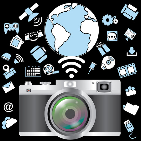 distributed: Digital camera with Application of distributed applications to the wireless connection Illustration