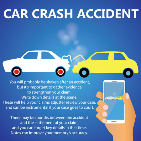 collisions: Car rear-end collisions have human hand are smart phones to take pictures. Illustration