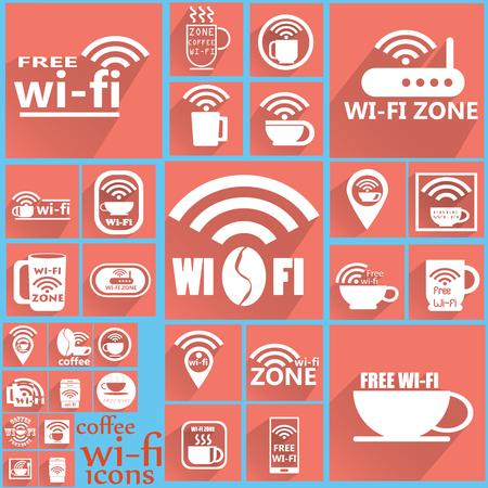 point chaud: Blanc caf� WIFI ic�nes sur carr� de couleur Illustration