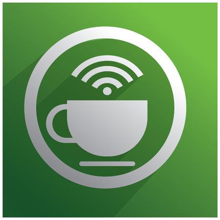 point chaud: Tasse blanche de caf� et WiFi symbole sur fond vert Illustration