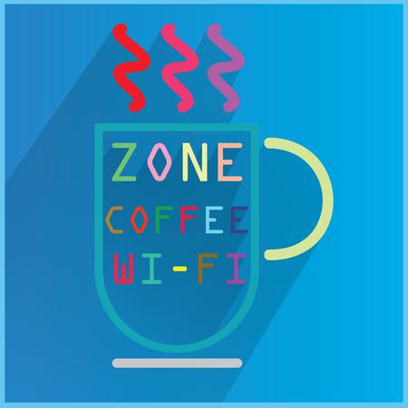 point chaud: Hot ic�ne de tasse de caf� avec une �tiquette color�e pour �tre un caf� et un service de WiFi.