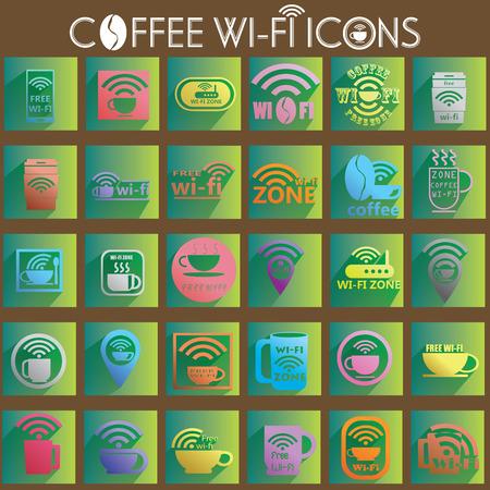 point chaud: couleurs de signaux de connexion sans fil ic�ne de caf� sur le carr� vert.