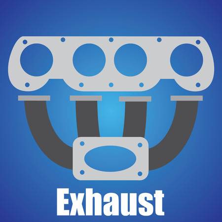 manifold: Exhaust Symbol on blue background