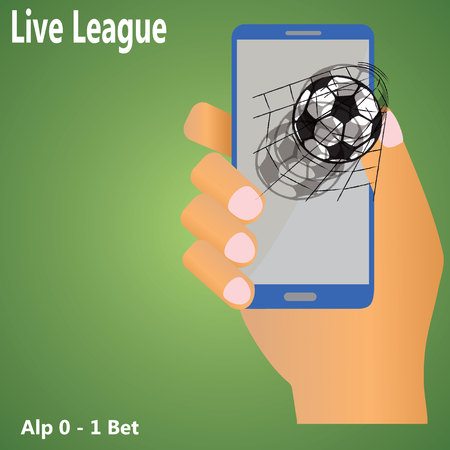 smart goals: Human hand are holding the smart phone screen shows a soccer ball into the goal.