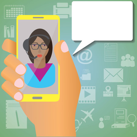 Hand are holding the phone screen shows the secretary was the information application with a white icon in the background. Vector