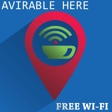 wireless network: signo de la red inal�mbrica gratuita para la cafeter�a Vectores