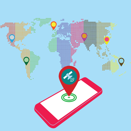 sattelite: pink color smartphone and world map