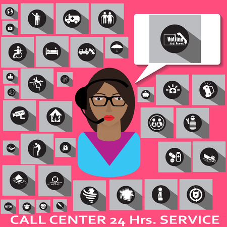 callcenter: A GIRL CALLCENTER AND INSURANCE ICONS Illustration