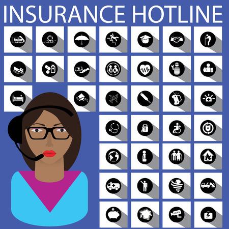 hotline: ein M�dchen, Callcenter und Versicherungshotline Illustration