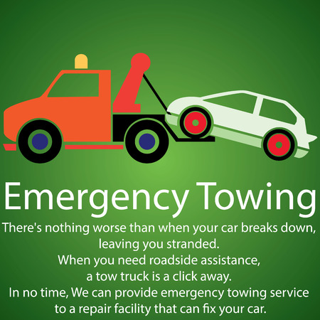 towing truck and damage car on green background