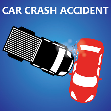 Rotes Auto mit einem schwarzen Pickup kollidierte haben Nebenschäden. Standard-Bild - 34382056