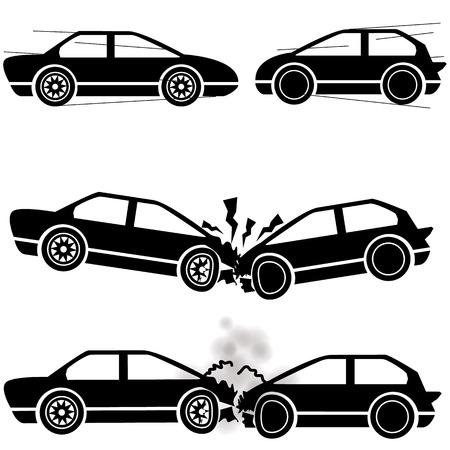 Icon Auto, stürzte zwei Autos ineinander mit einer Geschwindigkeit von Schäden. Standard-Bild - 34382059