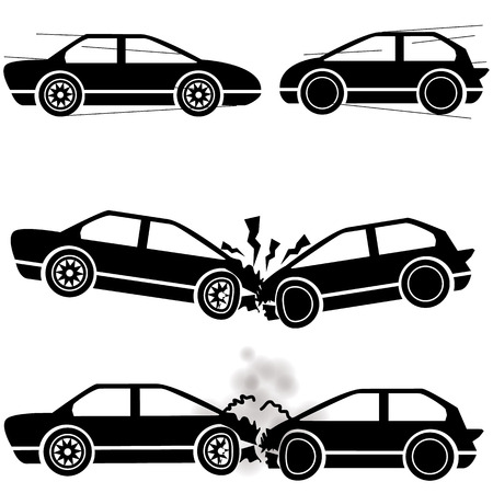 auto accident: Icon car, two cars crashed into each other at a speed of damage. Illustration