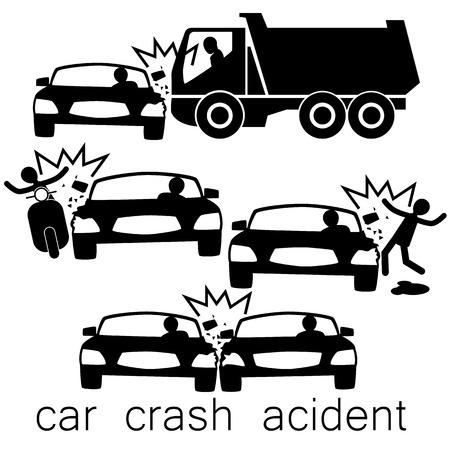 Pictogram voor het auto-ongeluk ongeval het op zijdelingse aanrijding