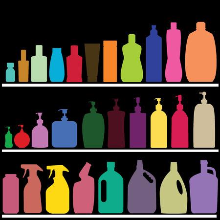 暗い背景に色のボトル