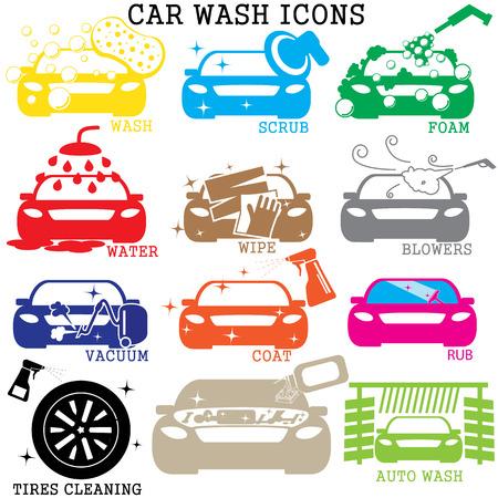 lavado: iconos de lavado de coches de color sobre fondo blanco