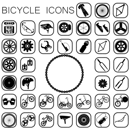 bicycle pump: bicycle icons  in black color on white background