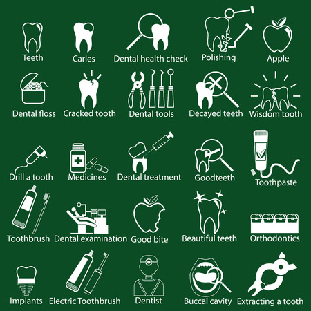 dental health: White dental icons on green background
