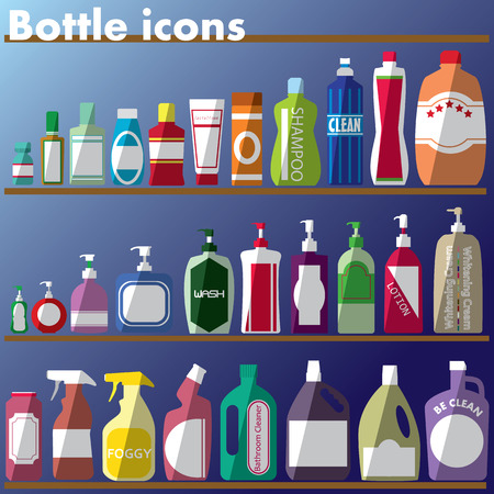 color bottle icons and shadow Illustration