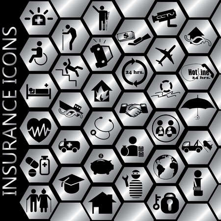 compensate: black color insurance icons on silver color hexagon Illustration