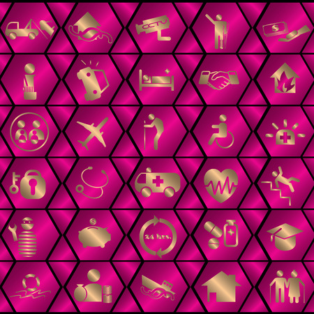compensate: Gold color insurance icons on  pink shiny color hexagon