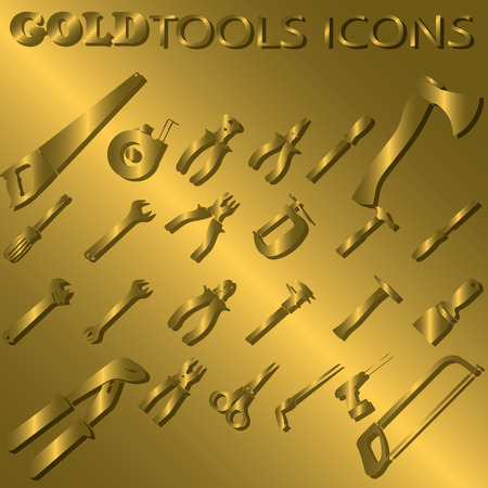 golden color: Golden tools  and shadow on golden color background Illustration