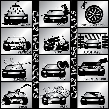 black car wash icon in silver square