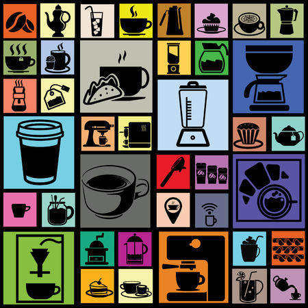 black color coffee icons in colorful square on dark background Vector