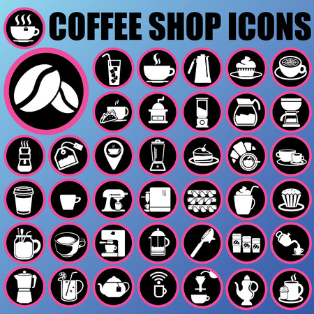 white coffee shop icons in pink circle on blue background Vector
