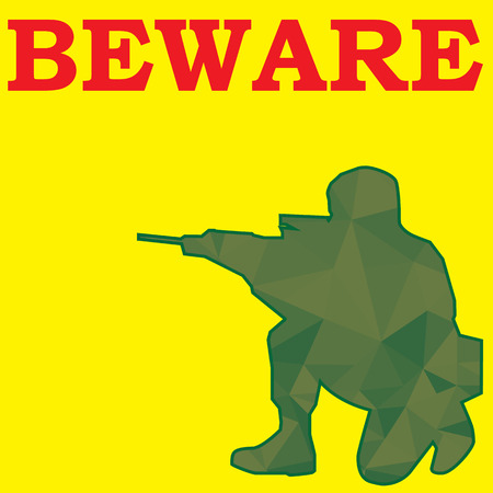 yellow beware: beware sign and soldier aim weapon in yellow color background