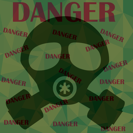 biological warfare: gas mask and warning messages danger