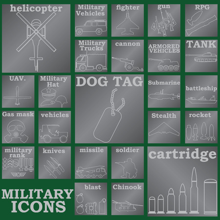 allied: white color military icons on silver plates