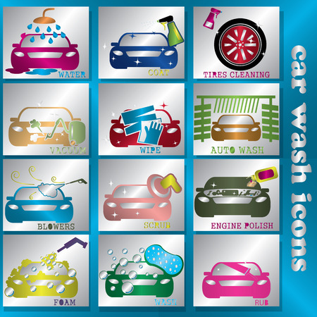blink: blink color car wash icon in silver square