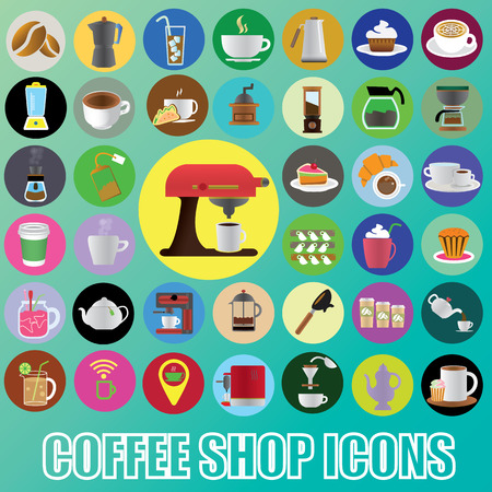 color coffee icons in color circle Vector