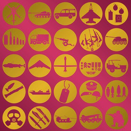 allied: gold leaf military icons on pink color background