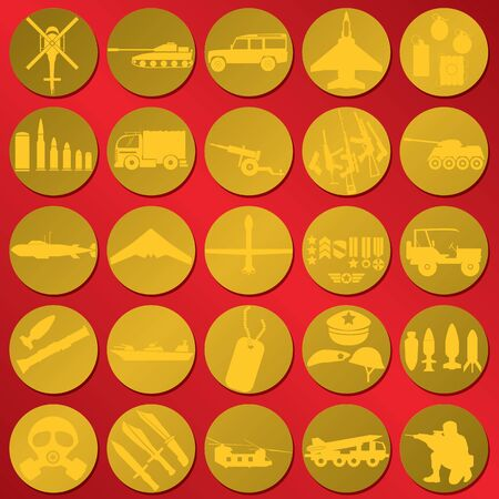 dogtag: shiner military icons on red color background